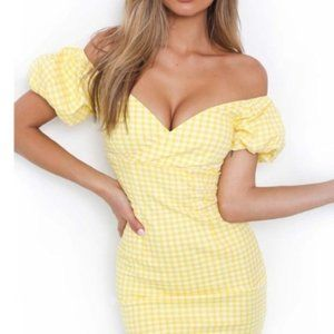 Tiger Mist yellow and white checkered dress